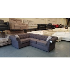 Ex-display DFS Ashby grey fabric corner sofa
