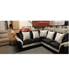 New black and silver crush velvet fabric corner sofa