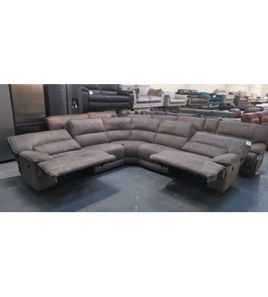 Ex-display Designer Cyrus grey fabroc electric recliner corner sofa