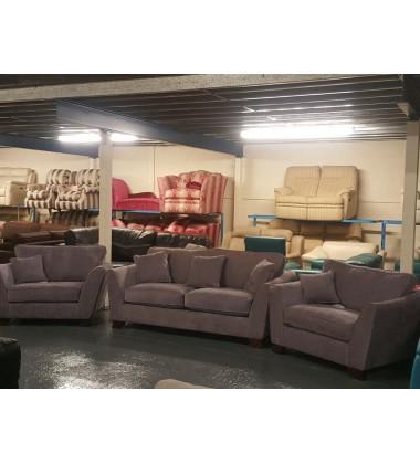 Ex-display Gabby light purple fabric 3 seater sofa and 2 armchairs