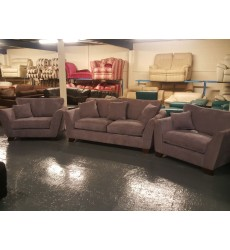 Ex-display Gabby light purple fabric 3 seater sofa and 2 armchairs