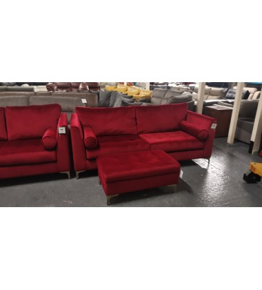 Ex-display Idol red fabric 3+2 seater sofas and footstool