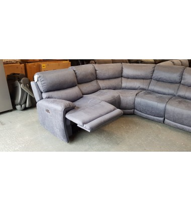 Ex-display Link Ocean blue saddle fabric large electric recliner corner sofa