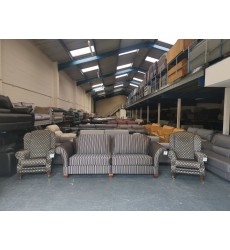 Ex-display Somerset gold/black fabric large 4 seater sofa and 2 wing chairs
