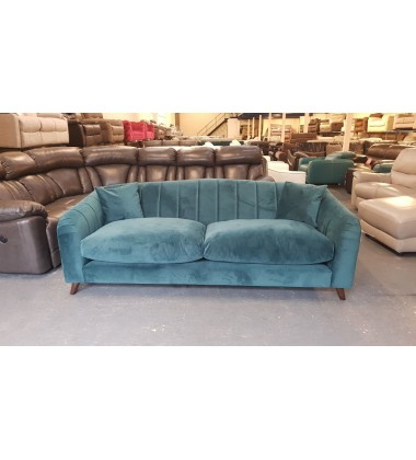 Development ex display teal green chenille fabric sprung back 3 seater sofa