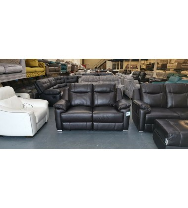 Alanzo dark brown leather manual recliner 2 x 2 seater sofas and puffee