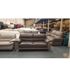 Ex-display Designer Angie two tone taupe leather 3 seater sofa