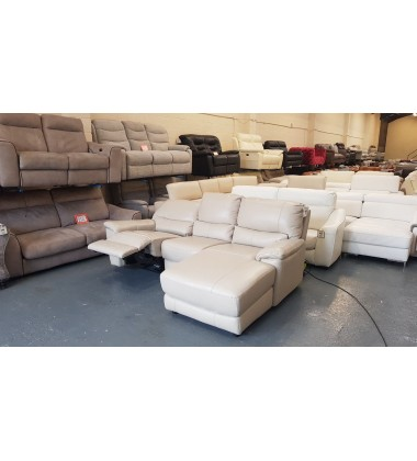 Relax Station Bliss pebble cream leather electric recliner chaise sofa
