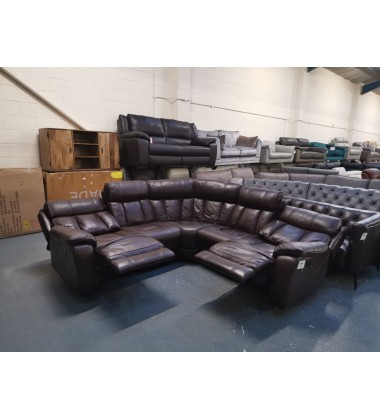 Ex-display Sofology Broderick brown leather manual recliner corner sofa