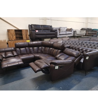 Ex-display Sofology Broderick brown leather manual recliner corner sofa