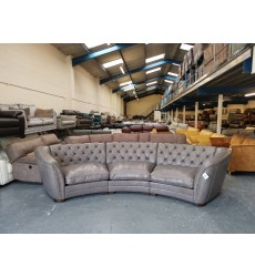 Ex-display Sofology Bronco dakota grey leather large curved sofa