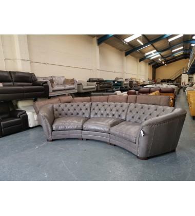 Ex-display Sofology Bronco dakota grey leather large curved sofa