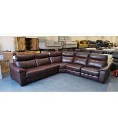 New Designer brown leather electric recliner corner sofa bed
