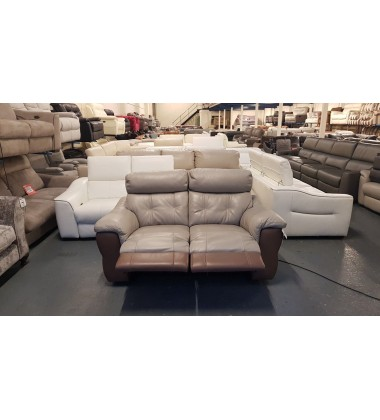 Ex-display Carello grey/light brown leather electric recliner 2 seater sofa
