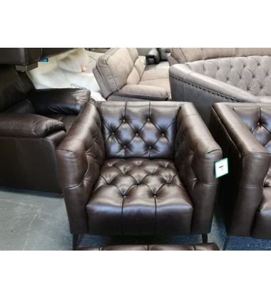Ex-display Sofology Churchill brown leather 3+2 seater sofa,armchair and puffee