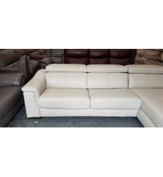 Ex-display Clarence Le Mans Mist leather chaise storage sofa bed