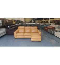 Ex-display Cressida orange leather electric recliner chaise corner sofa