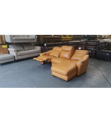 Ex-display Cressida orange leather electric recliner chaise corner sofa