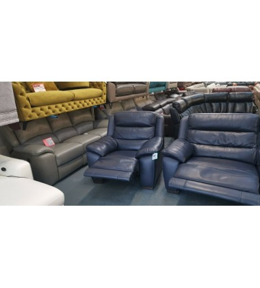 Ex-display Designer navy blue leather electric 3 seater sofa and 2 armchairs