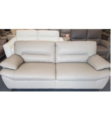 Ex-display Designer grey leather 3 seater sofa