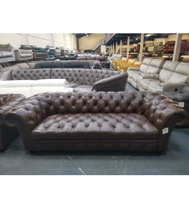 Dewsbury chesterfield brown leather 3 seater sofa and armchair
