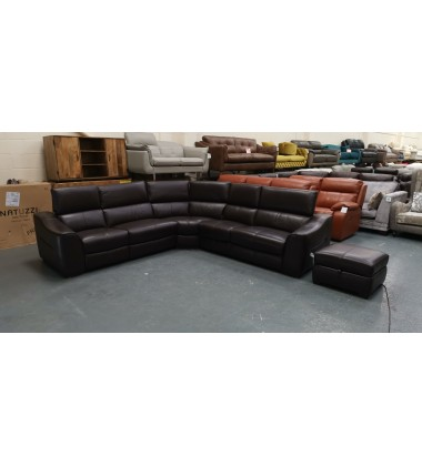 Ex-display Elixir brown leather electric recliner corner sofa and footstool