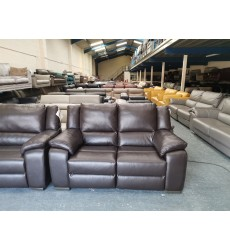 Finchley brown leather standard 3 seater sofa and electric 2 seater sofa