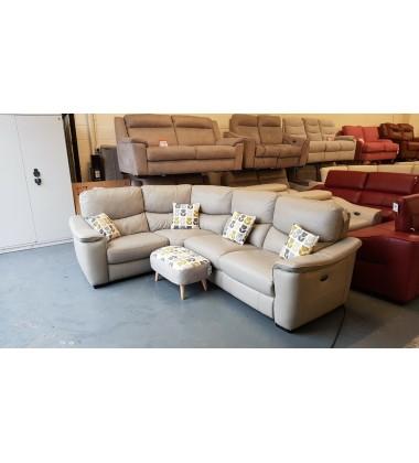 Ex-display Flex grey leather electric recliner corner sofa with footstool