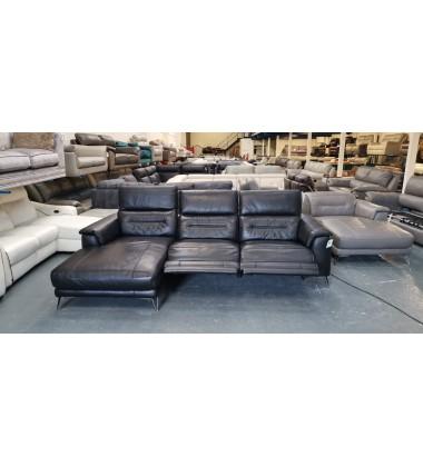 Ex-display Geminii/Sanza black leather electric recliner chaise corner sofa