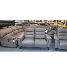 Ex-display Harper elephant grey leather electric recliner pair of 2 seater sofas