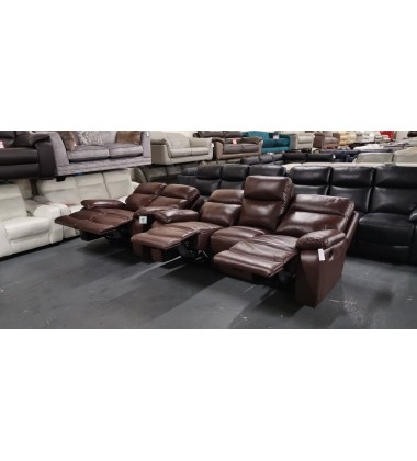 New Hasting chocolate brown leather manual recliner 3+2 seater sofas