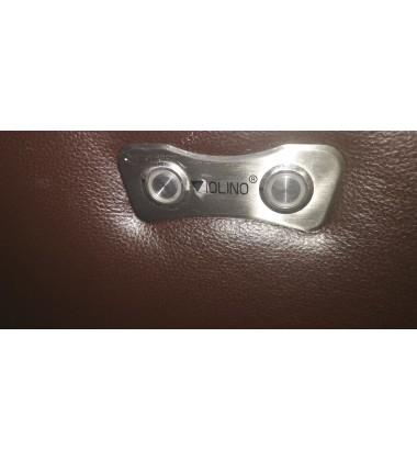 Sofology Lazzari brown leather electric recliner  3 seater sofa and manual recliner 2 seter sofa