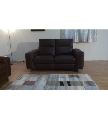 Madison avenue brown leather electric recliner 2 seater sofa