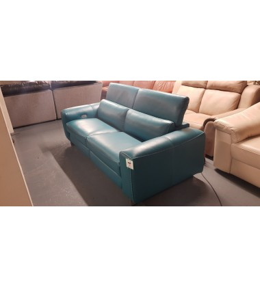 Madison avenue turquoise leather electric recliner 3 seater sofa