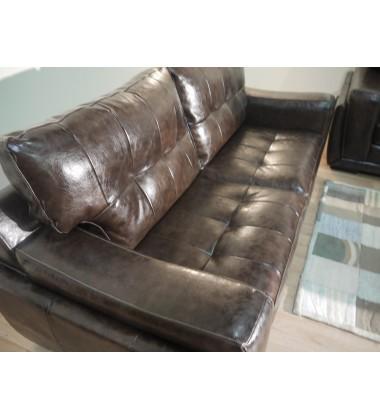 Endurance Marathon brown leather pair of 3 seater sofas