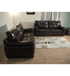 Endurance Marathon brown leather pair of 3 seater sofas