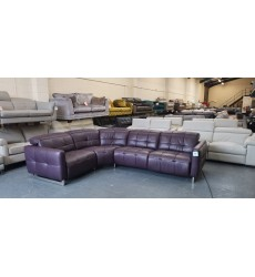 Ex-display Marmont aubergine/purple leather electric recliner corner sofa
