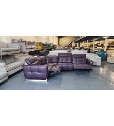 Ex-display Marmont aubergine/purple leather electric recliner corner sofa