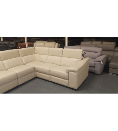 Ex-display Maurizio cream leather large corner sofa