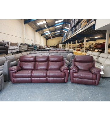 Ex-display Maxwell burgundy leather electric recliner 3 seater sofa and armchair