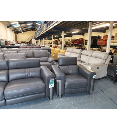 Moreno charcoal grey leather electric recliner 3 seater sofa and 2 armchairs