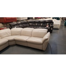 Ex-display Mustang light grey leather electric corner sofa