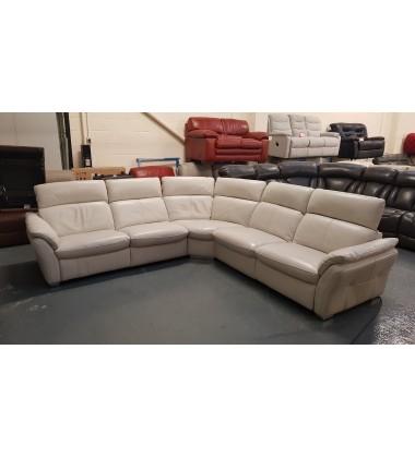 Ex-display Mustang light grey leather electric corner sofa