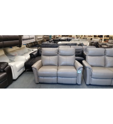 Ex-display Piccolo taupe leather electric recliner 3+2 seater sofas