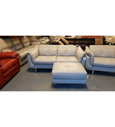 DFS Iconica Positano grey leather 2 seater sofa and footstool