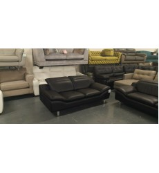 Ex-display Prestwood black leather 3+2 seater sofas