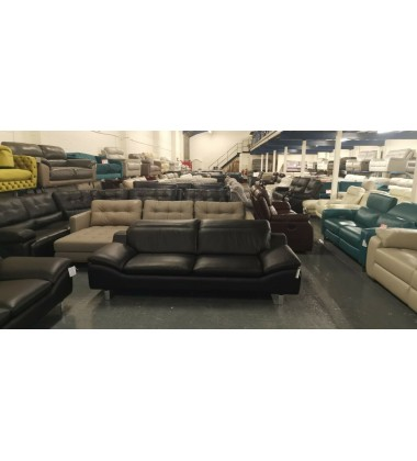 Ex-display Prestwood black leather 3+2 seater sofas