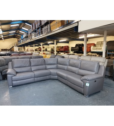 Ex-display Reid Apsley grey leather electric recliner large corner sofa