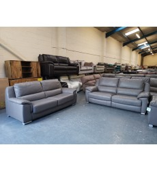 Ex-display Reid Apsley grey leather electric recliner sofa and sofa bed