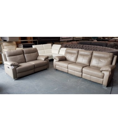 Ex-display Reid Apsley taupe leather electric recliner 3+2 seater sofas
